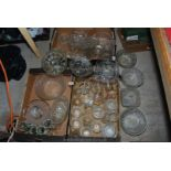 Three boxes of glassware, including trifle bowls, punch bowl and associated cups,
