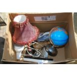 Box of various table lamps, globes,