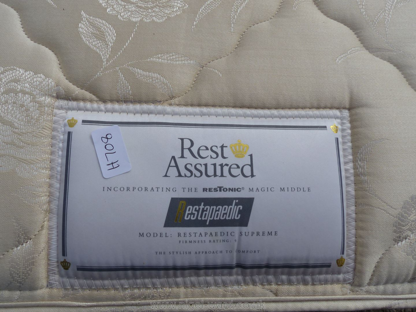 Rest Assured single bed, mattress and headboard. - Image 2 of 2