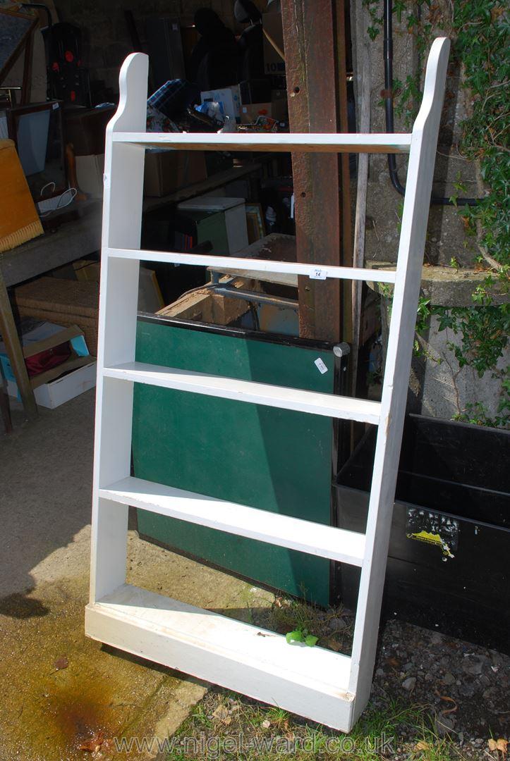 Painted wood five shelf bookcase/rack, 30'' x 61''.