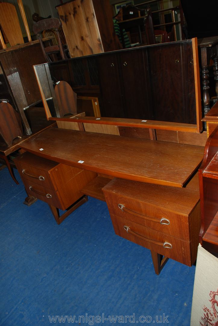 G-plan style dressing table with four drawers and mirror.