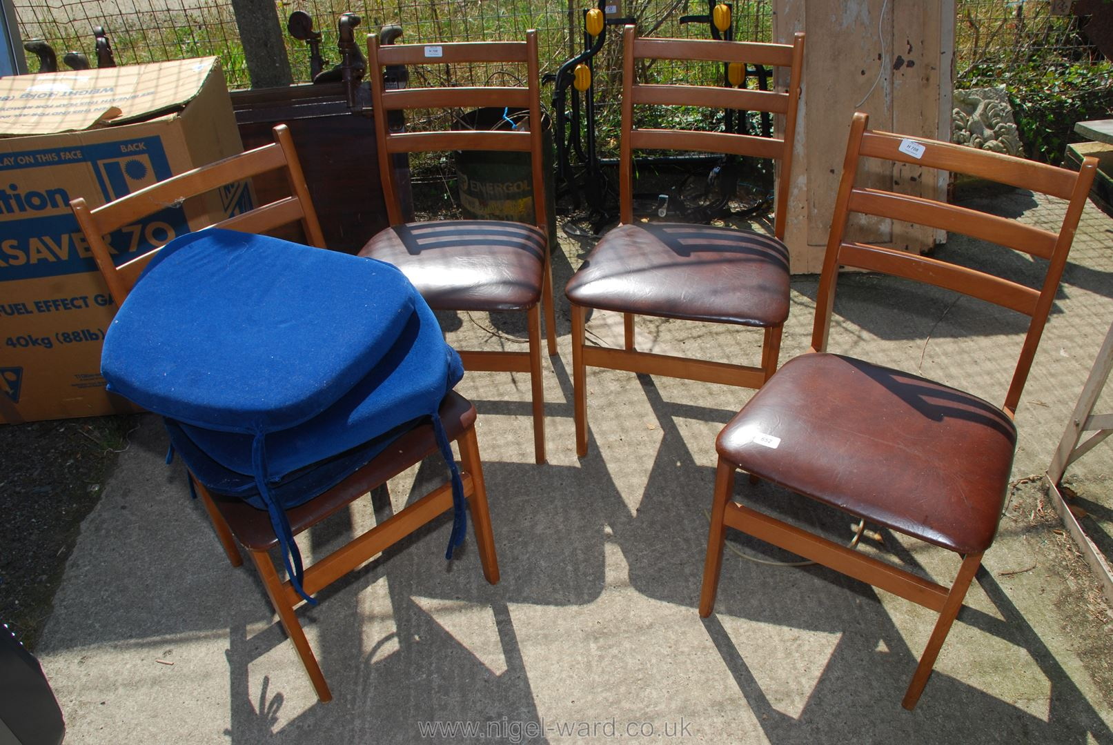 Four ladderback kitchen chairs with additional cushions for reupholstery