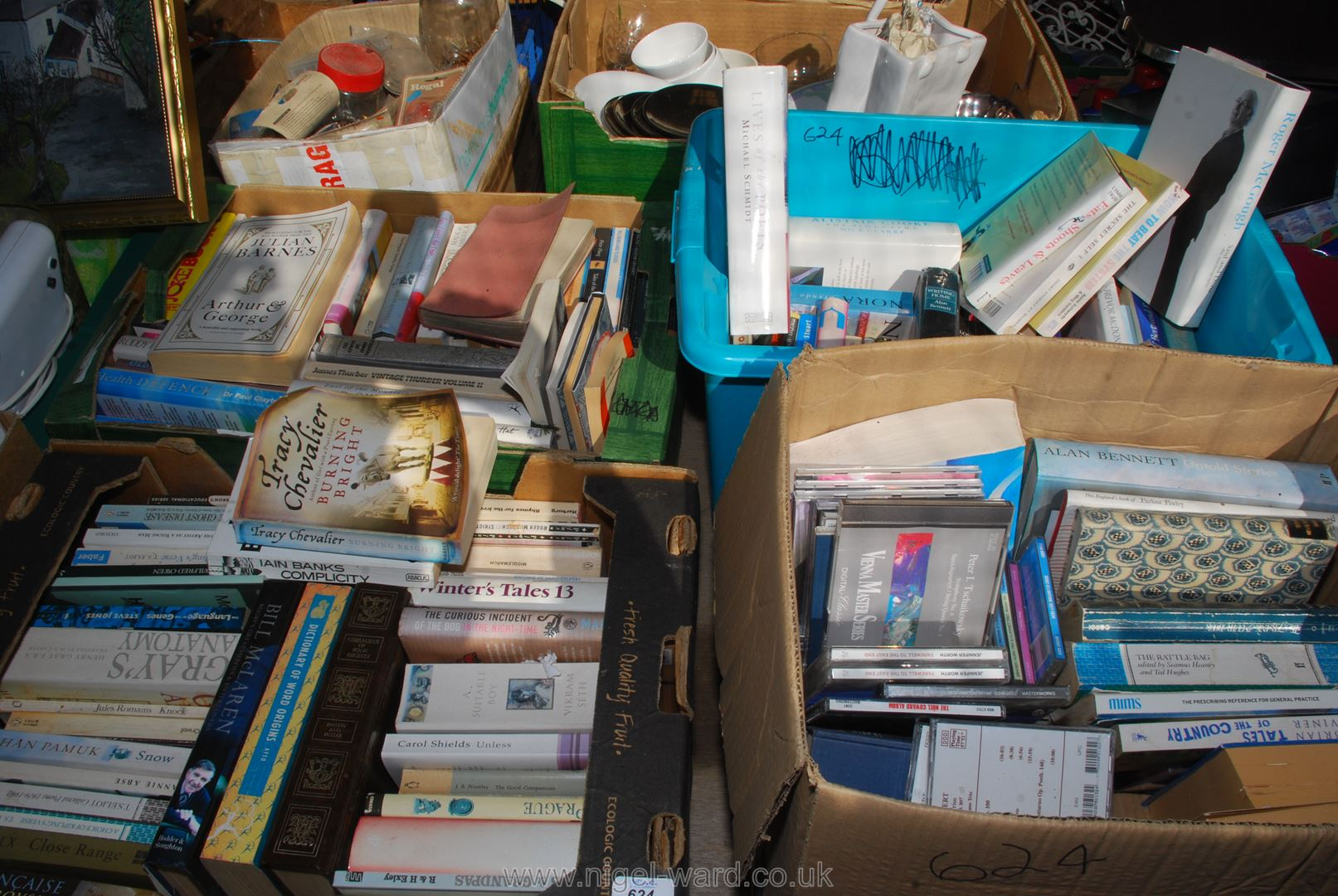 Four boxes of books including Grey's Anatomy etc