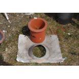 Terracotta chimney cowl and aluminium chimney slate