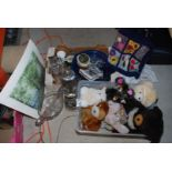 Two boxes of various soft toys, glasses,