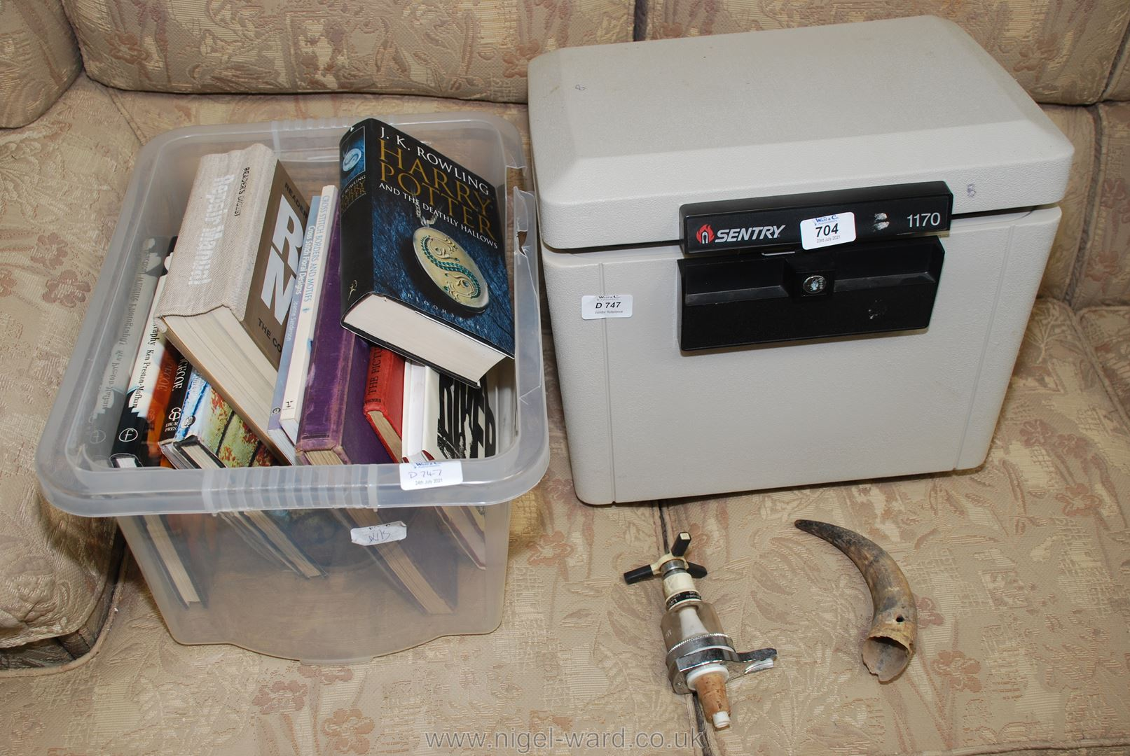 Sentry 1170 security box, no key, box of books including Harry Potter,