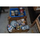 Two boxes of china including jugs, cats, deer a/f.