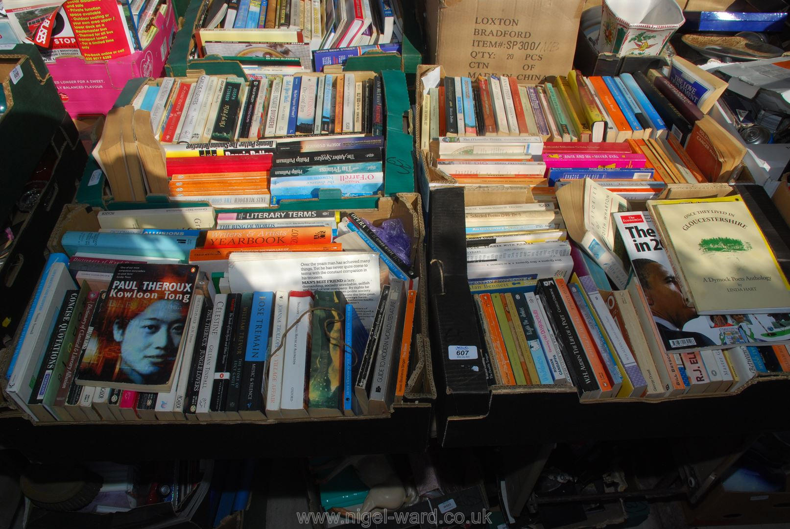 Four boxes of paperback novels etc
