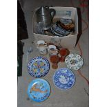 Quantity of Tourist ware plates, lidded Stein biscuit barrel, carnival glass,