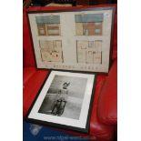Framed plans for a Dr's house and a framed print.