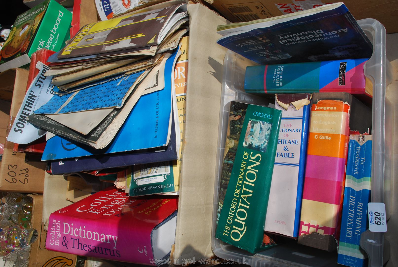 Two boxes of books including dictionaries