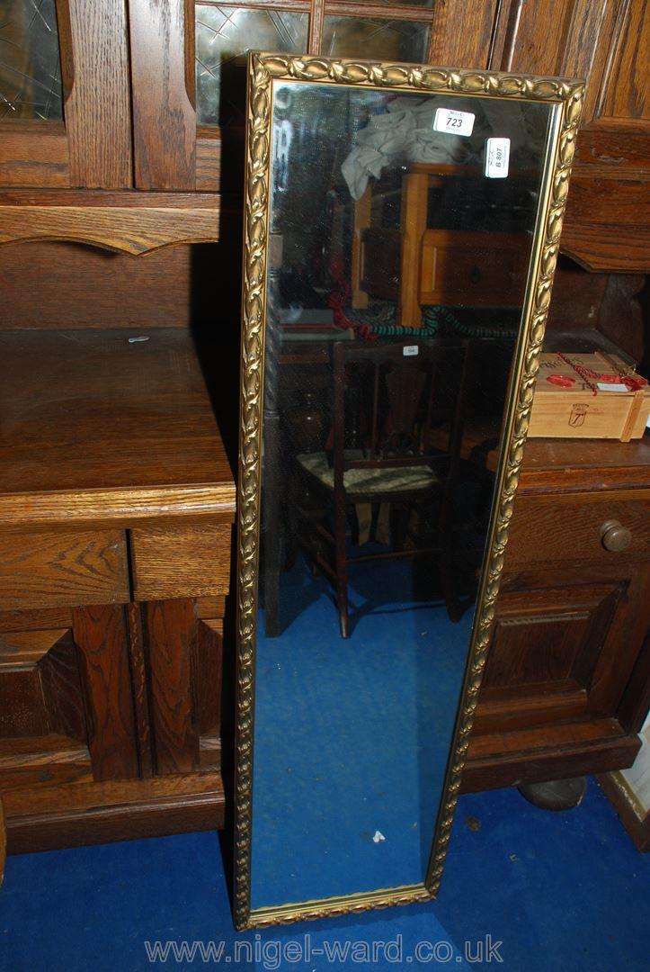 Gilt edged hanging wall mirror