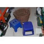 Large wicker log basket and two plastic steppers
