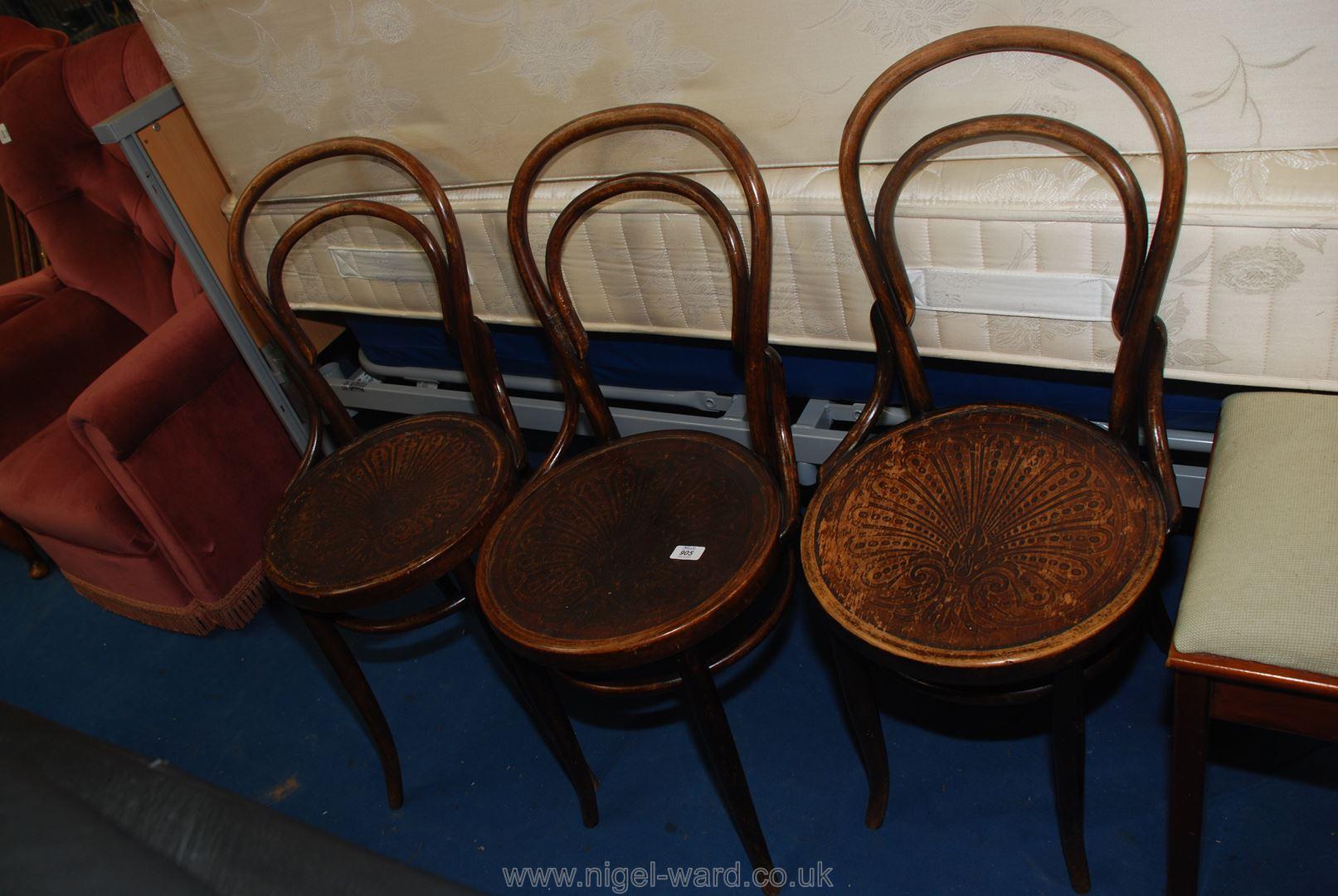 Three bentwood circular seated chairs