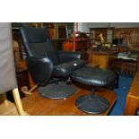 Leather effect chair and matching foot stool