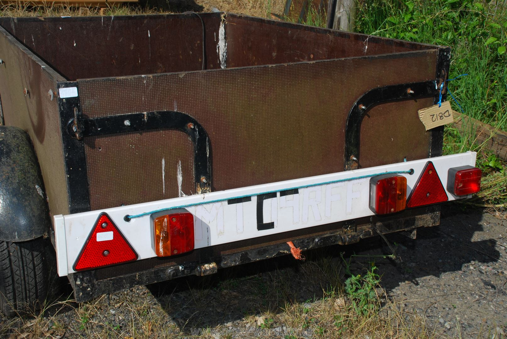 Small wooden trailer with tail board, 64'' x 42'' x 21'' high. - Image 2 of 2