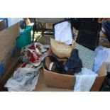 A quantity of clothes hangers, shopping bags, cushions, gents shirts, etc.