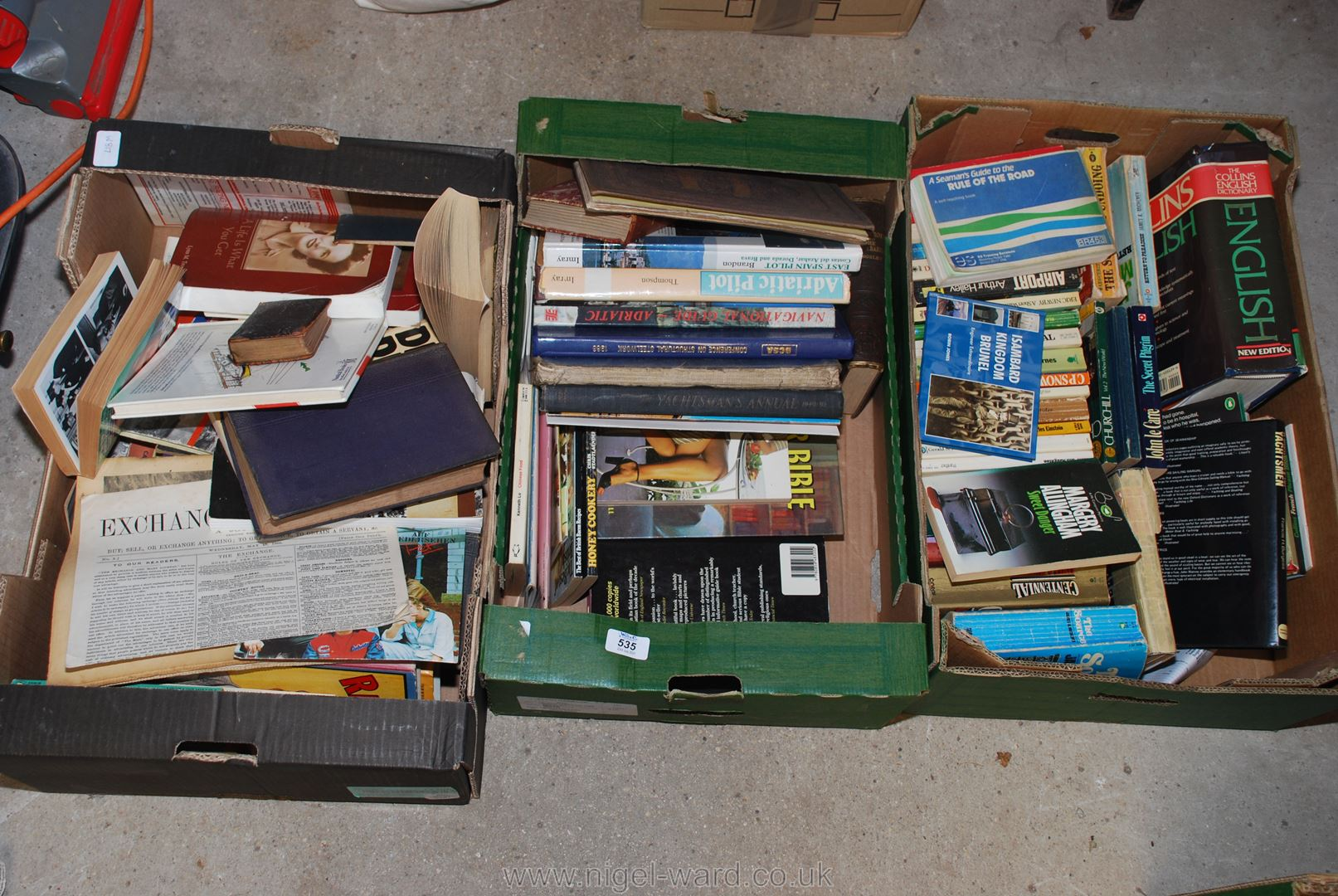 Three boxes of various books,