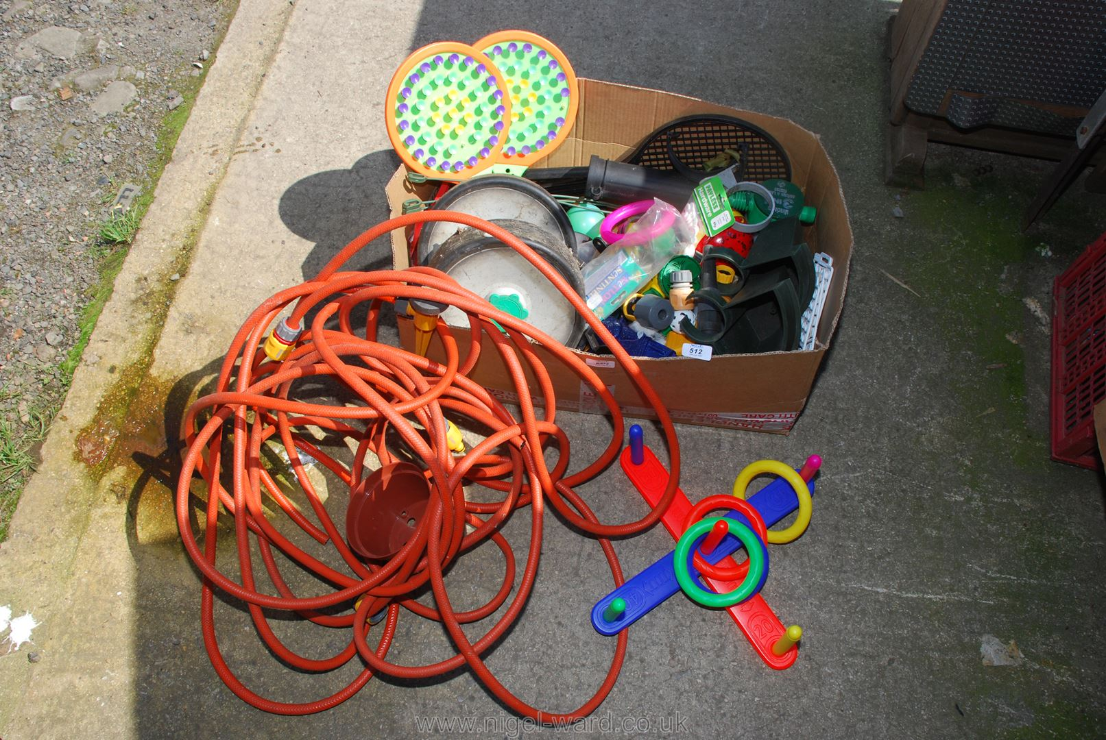 A quantity of garden hose, children's outside toys, hose lock fittings, lawn spreader, etc. - Image 2 of 2
