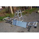 Metamorphic aluminium ladder platform.