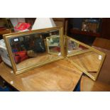 Bevel plate gilt framed mirror and one other.