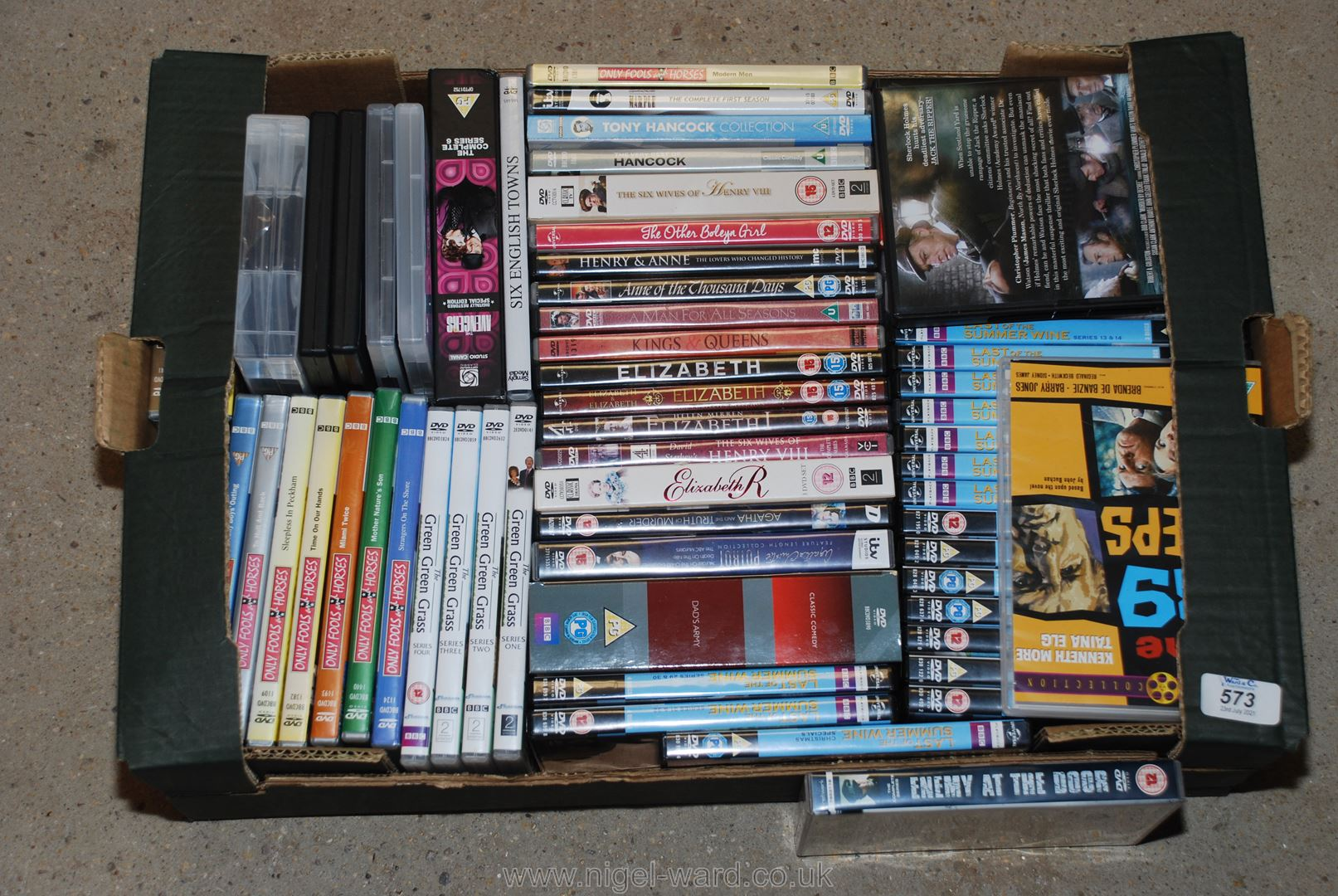 Box of various DVD's including Only Fools & Horses,