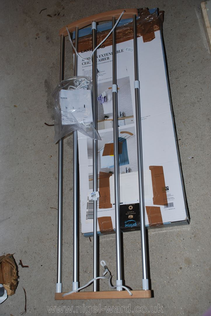 Ceiling mounted clothes airer, boxed.