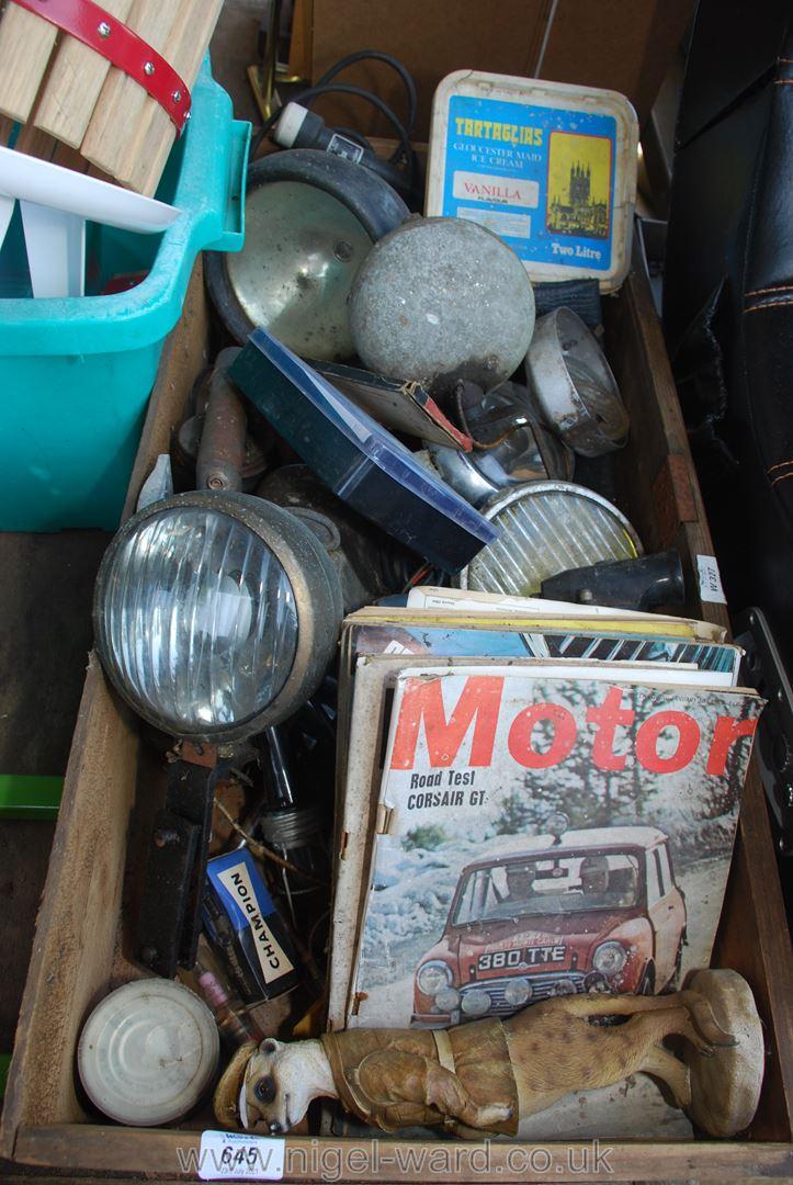 Quantity of tractor lights, metalware,