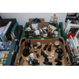 Box of cat figures, battery screwdriver, various glasses,