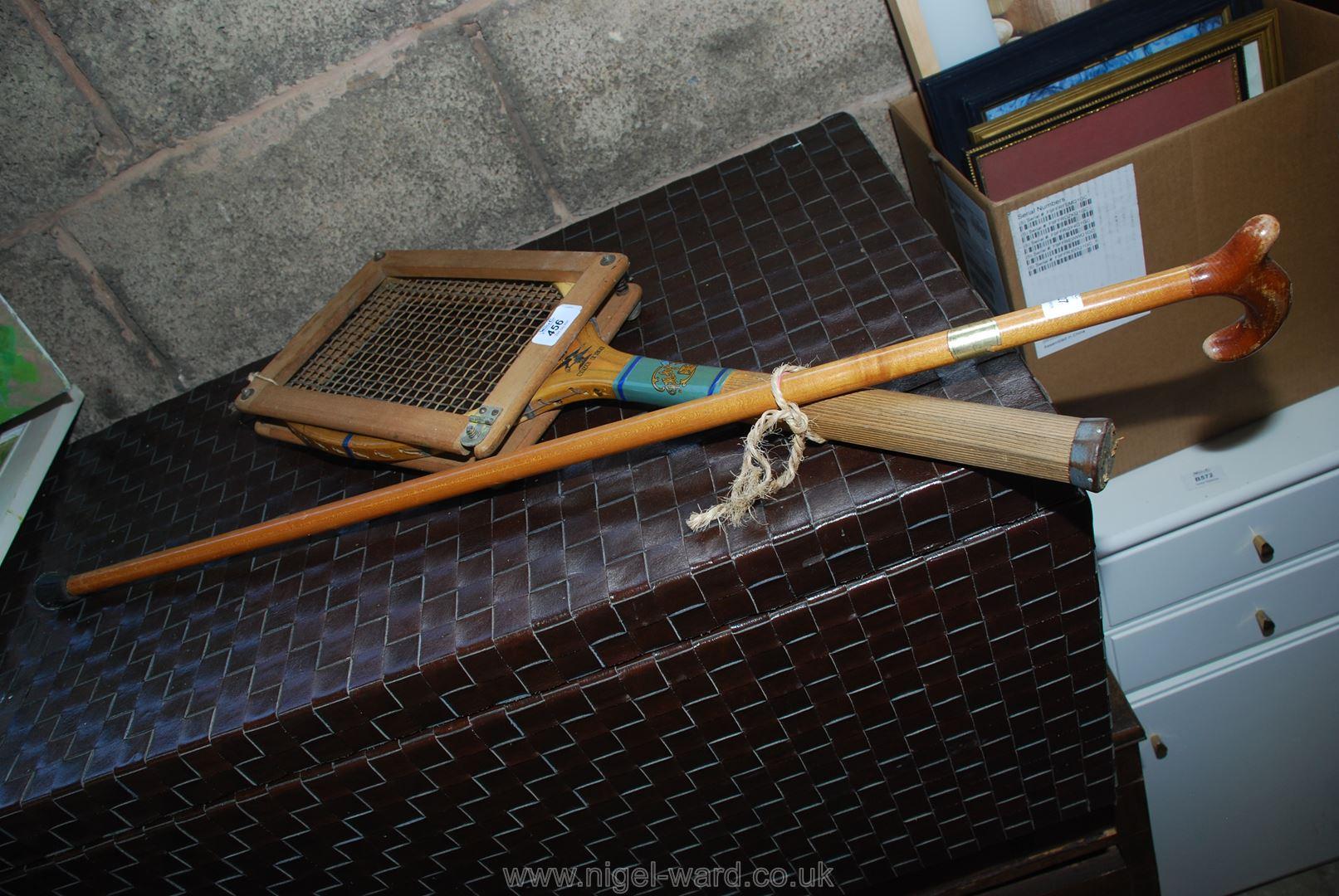 Vintage tennis racket and press plus walking stick