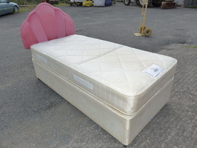 Rest Assured single bed, mattress and headboard.