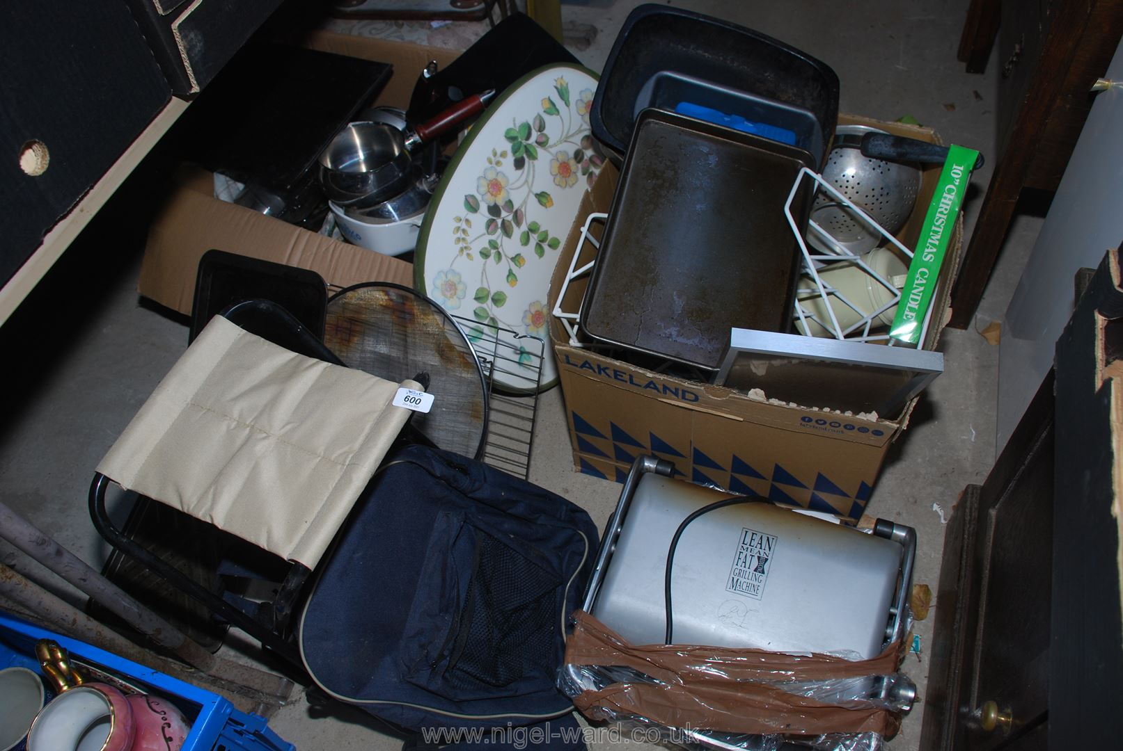 Three boxes of miscellanea including backpack, folding stool, saucepans,