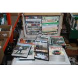 Box of mainly steam locomotive DVD's and video tapes