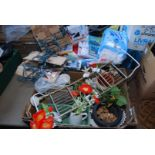 Two boxes of Christmas lights and decorations, DVD's, artificial flowers, etc.