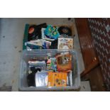 Tub of various DVD's and box of 45 rpm records