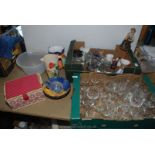 Two boxes of glass including drinking glasses,