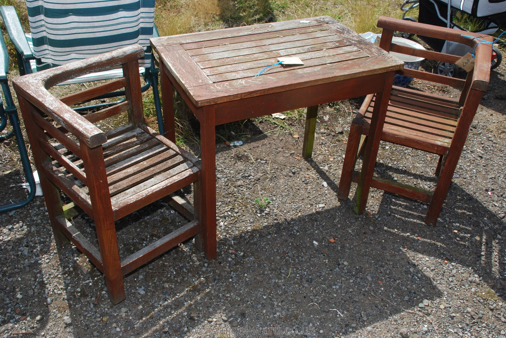 Wooden table for two set.