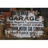 "Large enamel sign ""Cheltenham Garage"", 72"" wide, 48"" high approx."