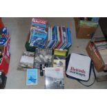 Box of aviation books, magazines, British Airway holdall,