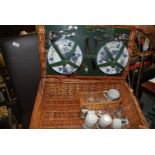 Four setting wicker picnic basket.