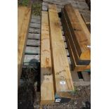 Two lengths of oak 4 3/4'' x 3'' x 56 1/2'' and 3'' x 3 1/2'' x 55''.