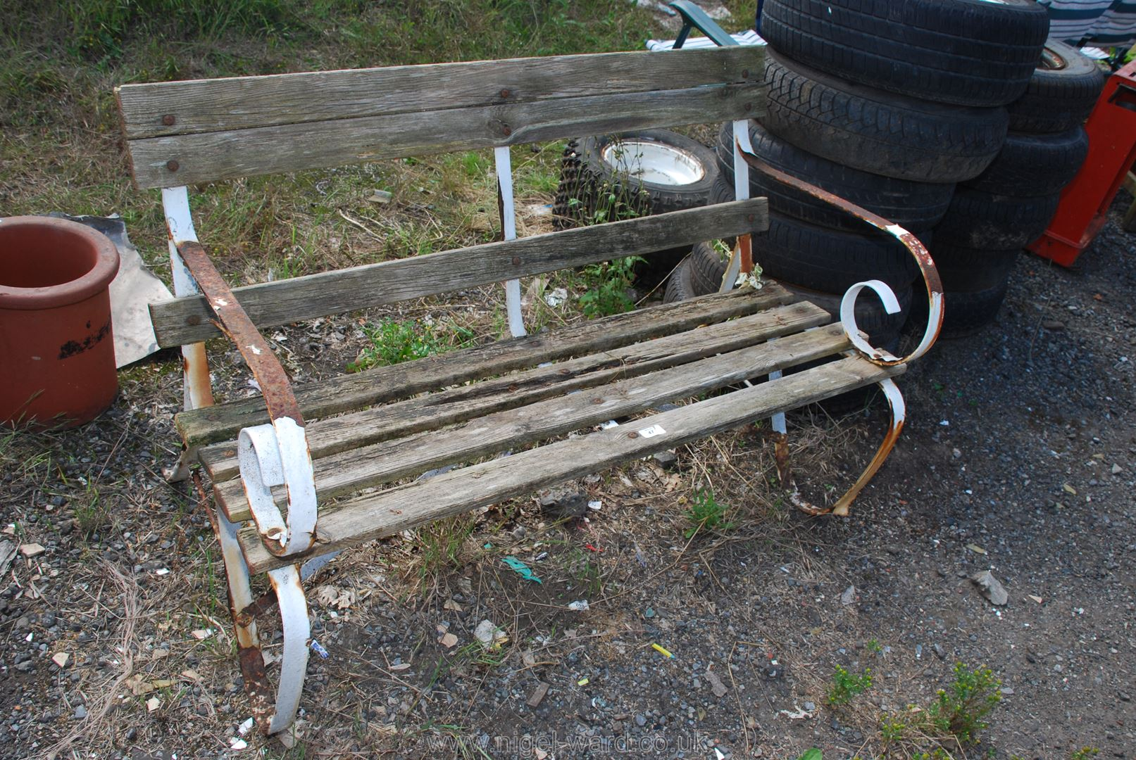 Metal and wood garden bench for restoration, 47'' long.