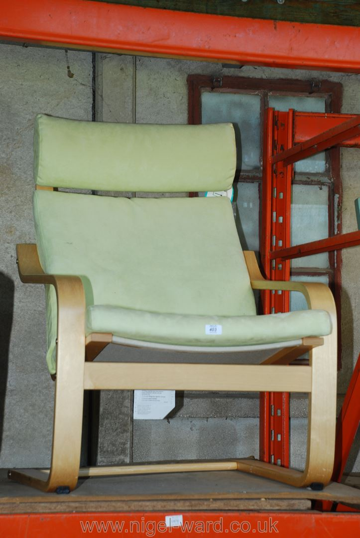 IKEA bentwood style armchair with foot stool in pale green.