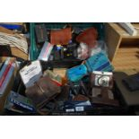 Two crates of various cameras and cases