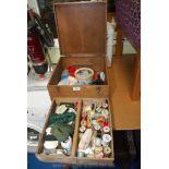 Oak box containing various cottons,