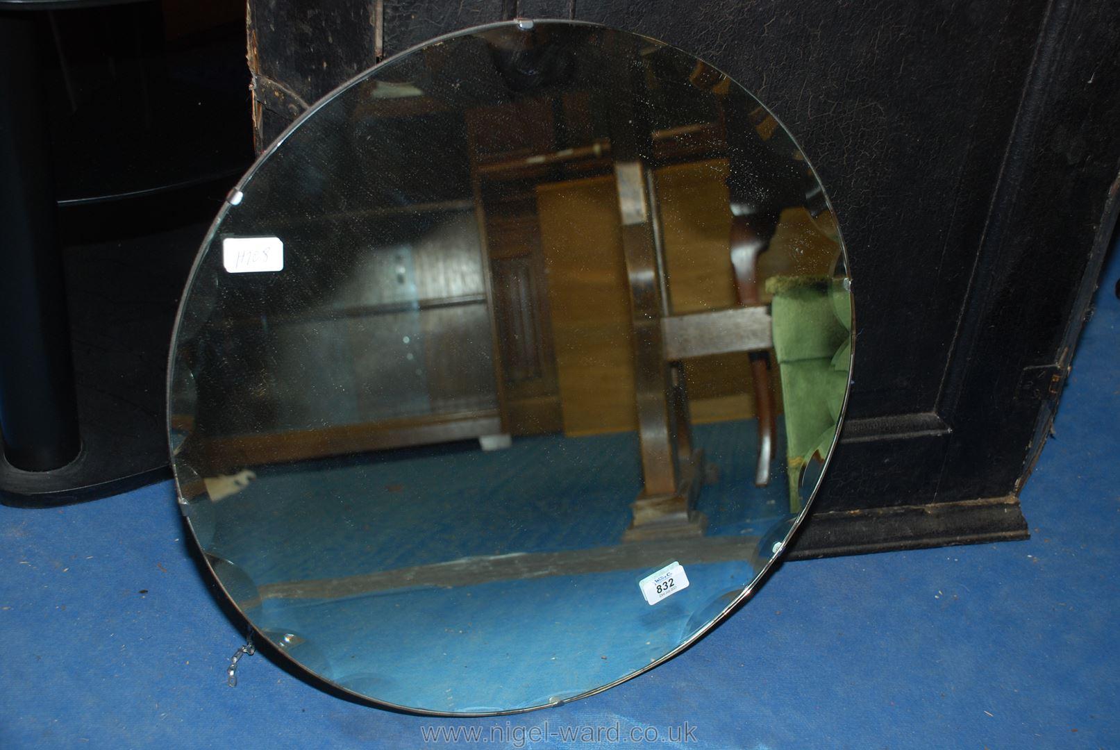 Circular wall pie crust edged mirror, 22'' diameter.
