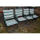 Set of four metal and upholstered folding patio chairs