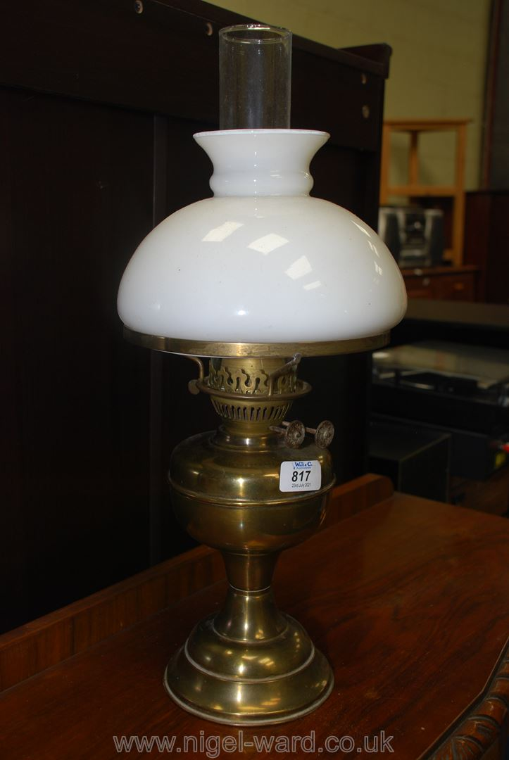 Brass oil lamp with double burner