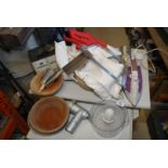 Quantity of wooden bowls, meat saw, mincer, iron, chopper,