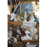 Two boxes of various cups, saucers, table lamps,